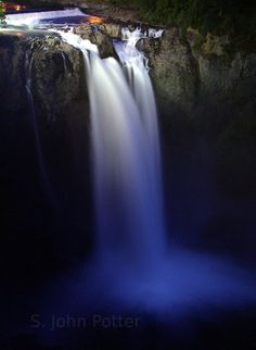 water falls at night