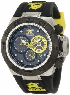 Invicta Women's 10156 Subaqua Noma IV Chronograph Black Dial Black and Yellow Silicone Watch Invicta. $291.00. Chronograph functions with 60 second yellow subdial, 30 minute and 1/10th of a second black subdials with yellow hands; date function. Swiss quartz movement. Flame-fusion crystal; stainless steel case; black silicone strap with yellow accents. Water-resistant to 500 M (1664 feet). Black carbon fiber dial with yellow hands and hour markers; luminous; unidirectiona...