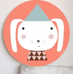 handmade children's room wall art by Haciendoelindio - I like his cute little bunny face.