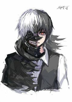 Kaneki Ken, ghoul, white hair, dark hair, mask, cool, half and half; Tokyo Ghoul