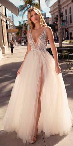 30 Revealing New Wedding Dresses 2019 ❤️ wedding dresses 2019 a line deep v neck sleeveless high slit embroidered bodice berta ❤️ See more: http://www.weddingforward.com/wedding-dresses-2019/ #weddingforward #wedding #bride #weddingdresses2019 #bridalgown