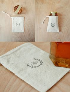 little jar of honey + a tiny muslin bag + Maple & Cotton's bee stamp = adorable