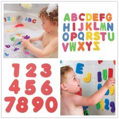 Dijual panas 36 pcs/Set anak-anak bak mandi busa nomor surat anak-anak bermain mainan, Anak belajar mainan pendidikan