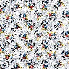 Springs Creative Disney Mickey & Minnie Vintage All Over The News Fabric - By the Yard Mickey Mouse Fabric, Mickey Mouse Cartoon, Mickey Mouse And Friends, Mickey Minnie Mouse, Disney Mickey, Disney Art, Disney Quilt, Disney Fabric, Mickey Mouse Classroom