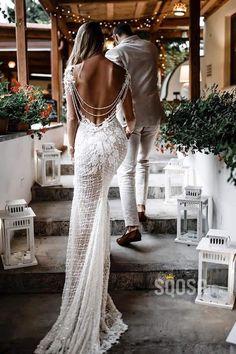 Unique Bateau Illusion Long Sleeve Luxury Lace Mermaid Wedding Dress Bridal Dress - Source by - Size 18 Wedding Dress, How To Dress For A Wedding, V Neck Wedding Dress, Wedding Dresses With Straps, Lace Mermaid Wedding Dress, Sexy Wedding Dresses, Mermaid Dresses, Bridal Dresses, Wedding Gowns