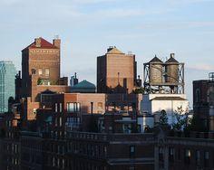 Rooftop water towers on New York apartment buildings.jpg