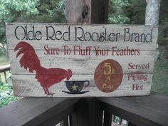 This Primitive wood rooster sign will make a cute addition to your country Kitchen. Looks good with any primitive rustic farmhouse decor It is made of three boards much like an old sign. It is hand pa Primitive Homes, Primitive Country Signs, Primitive Kitchen, Primitive Crafts, Primitive Christmas, Primitive Bedroom, Wood Crafts, Primitive Antiques, Christmas Wood