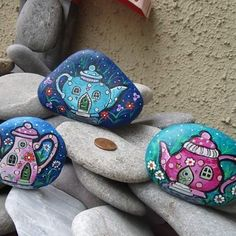 New collection #rockpainting #stonepainting #fantasypaintings #paintedrocks #paintedstones #teapots  #fairyhouses