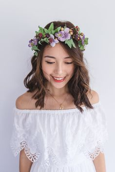 nature bohemian inspired forest flower crown // floral headpiece, lilac lavender purple english ivy flower fascinator headband wedding