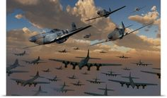 Mark Stevenson Poster Print Wall Art Print entitled B-17 Flying Fortress bombers and P-51 Mustangs in flight, None