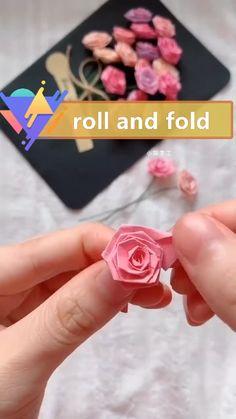 Diy Crafts For Home Decor, Fun Diy Crafts, Diy Crafts Videos, Paper Flowers Diy, Flower Crafts, Diy Doll Miniatures, Paper Crafts Origami, Diy Gifts, Creative Crafts