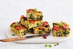 This healthy version of the family-favourite zucchini slice is loaded with quinoa zucchini and kale and makes a perfect vegetarian dinner or lunchbox filler. Zucchini Slice, Healthy Zucchini, Zucchini Quinoa, Vegetarian Dinners, Vegetarian Recipes, Healthy Recipes, Veggie Meals, Savoury Recipes, Fun Recipes