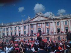 Place du Capitole, un jour de victoire au rugby, Toulouse, Haute-Garonne,France