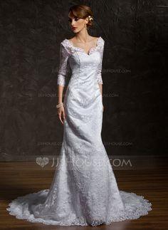 Trompete/Sereia Decote V Trem da capela Cetim Renda Vestido de noiva (002011518)