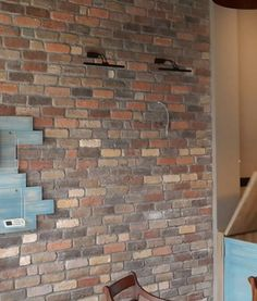 Caffe Feature Wall using Old Seattle Brick Slips Timber, Industrial Furniture, Brick Tiles, Vintage Industrial Lighting, House Styles, Feature Wall, Vintage Industrial, Brick, Retro Furniture