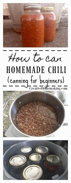 Canning homemade chili. Easy recipe for beginning canning. Canning chili with a pressure canner. Recipe and instructions for canning homemade chili. Chili Canning Recipe, Canning Soup Recipes, Pressure Canning Recipes, Beef Soup Recipes, Canning Tips, Herb Recipes, Homemade Chili Beans Recipe, Canning Kitchen Ideas, Chili Recipes