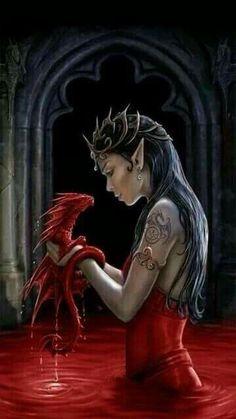 Fantasy Art by Anne Stokes Fantasy Dragon, Dragon Art, Red Dragon, Fantasy Artwork, Magical Creatures, Fantasy Creatures, Fantasy Wesen, Jolie Photo, Gothic Art