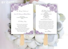 Printable Wedding ceremony fan program template Vintage by Oxee, $7.00