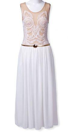 White Sleeveless Embroidery Contrast Chiffon Tank Dress - Sheinside.com Mobile Site