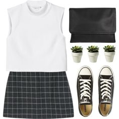 Converse. by michellecoolio on Polyvore featuring Monki, Converse, Maison Margiela, women's clothing, women's fashion, women, female, woman, misses and juniors