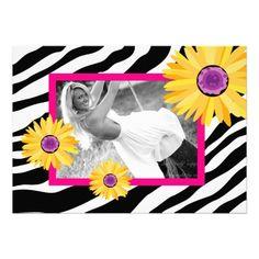 Bachelorette Party Invite Daisy Zebra Pink Yellow