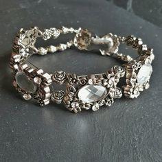 Code DALADY15 for 15% off!  Rhinestone Bracelet - Cocktail Bracelet - Event Jewelry - Ren Faire - Flower Bracelet - Wedding Bracelet - Silver Bracelet - Handmade Jewelry - Ren Faire - DRAVYNMOOR