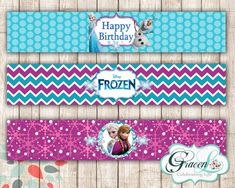 Frozen Water Bottle Labels Frozen Movie by BelleAmitieDesigns Frozen Birthday Party, Frozen Birthday Decorations, Frozen Party Favors, Frozen Theme Party, Happy Birthday, Birthday Cakes, Girl Birthday, Frozen Fever Cake, Frozen Movie