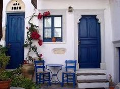 Traditional blue door - Greece.