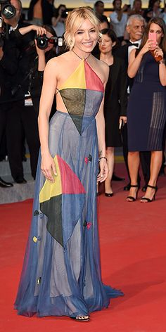 The Best and Boldest Looks from the Cannes Red Carpet! | SIENNA MILLER | in a sheer blue kite-inspired dress at the Sea of Trees premiere.