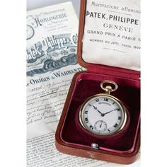 """An eighteen karat gold pocket watch, Patek Philippe <br /> <span style=""""font-variant: small-caps;"""">with box</span> <br /> 18 jewel movement no. 186178, screw set, split bi-metallic balance, adj. to 8 positions, case no. 402449, decorative silver tone dial with Roman numerals and sunk subsidiary seconds dial. Case, dial, movement and bow signed for Patek Philippe with box. <br />"""