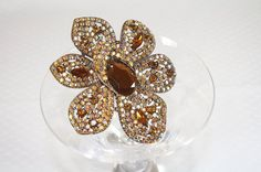 Amber Rhinestone Flower Pin Brooch 4 Inches by AuntBeasBling
