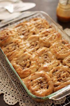 Caramel Apple Cinnamon Rolls- The Baker Chick