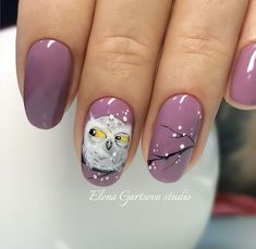 Pretty owl manicure nail art design