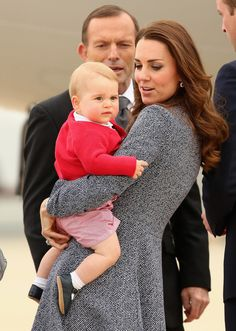 Kate. Duchess Kate loves to take care for her son Prince George in her duty day.