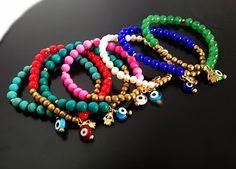 Hamsa Evil Eye Natural Gemstone Gold Bracelet - Candy Arm, Friendship Bracelet