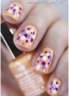 LSU dotted Nails