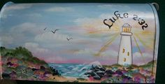 hand painted mailboxes | Personalized hand painted mailbox LIGHTHOUSE beach SCENE UV Resistant