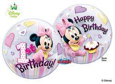 "22"" Baby Minnie 1st Birthday Stretchy Plastic Qualatex Bubbles Balloon Party  | eBay"