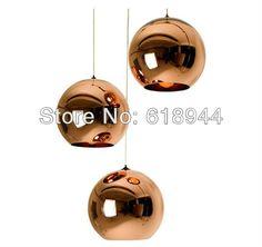 Free Shipping 25 CM Tom Dixon Copper Shade Glass Ball Pendant Lights, modern lamp lights for home Modern E27 Light Fixture Lamp $73.73