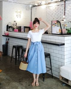 Handmade light denim skirt by Sew Over It London - Handmade lig Womens Fashion Online, Latest Fashion For Women, Mode Outfits, Fashion Outfits, Fashion Skirts, Outfits Jeans, Cheap Outfits, Blue Fashion, Fashion Fall