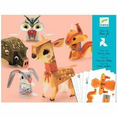 Djeco / Folded Paper Toy Kit, Pretty Woodland Animals - Most Wanted Christmas Toys Forest Animals, Woodland Animals, Woodland Critters, Paper Animals, Paper Folding, Woodland Creatures, Paper Toys, Bugaboo, Craft Kits