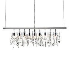 The crystals in our Linear Strand Crystal Chandelier can be re-arranged for a more customized look in your space.