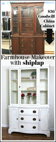 Goodwill antique china cabinet makeover with Chalk Paint and shiplap for a fresh farmhouse look - DIY furniture makeover ideas by Girl in the Garage Refinished China Cabinet, China Cabinet Makeovers, Farmhouse China Cabinet, China Hutch Makeover, Antique China Cabinets, Painted China Cabinets, Repurposed China Cabinet, Hutch Redo, White China Cabinets