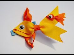 GOLDFISH Fish Ribbon Sculpture Zoo Animal Hair Clip Bow DIY Free Tutorial by Lacey - YouTube