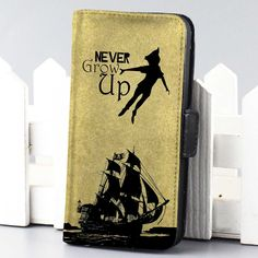 peter pan never grow up Disney wallet case for iphone 4,4s,5,5s,5c,6 and samsung galaxy s3,s4,s5 - LSNCONECALL.COM