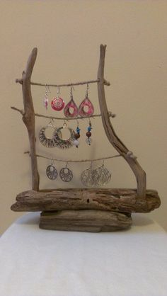 Driftwood Jewelry Display by Yourpieceofthebeach on Etsy