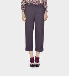 Gucci pantalon 7/8 feutré à chevrons Plis de pantalon