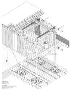 Muziris re discover Architecture Board, Architecture Student, Architecture Drawings, Architecture Details, Architecture Visualization, Light Architecture, Roof Design, Facade Design, Axonometric Drawing