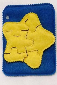 Yellow star quiet book puzzle with felt template