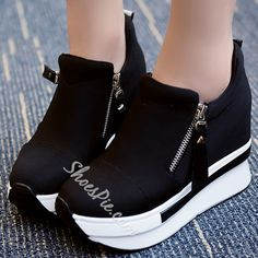 Round Toe Side Zipper Cloth Western Platform Womens Sneakers The latest trends for Woman, Man and kids. we have the latest fashion on women's and men's clothing, Accessories and Shoes # Sneakers Mode, Shoes Sneakers, Womens Fashion Sneakers, Fashion Shoes, Cheap Fashion, Fashion Dresses, Kinds Of Shoes, Trendy Shoes, Buy Shoes